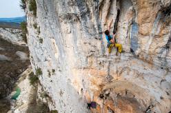 Filip Pečenec climbing Ništa od Jessy, Pengari - Buzetski kanjon, Croatia