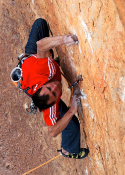 Klemen Bečan making the first ascent of Same Same same but different, 8c, the hardest sports climb in Jordan.