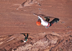 Klemen Bečan on the crux pitch of Glory 7c+, Wadi Rum