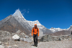 Chad Kellogg in front of Kang Nachugo, Nepal, in 2012.