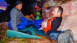 Escalador Selvatico: Rolando Larcher, Luca Giupponi, Maurizio Oviglia, waking up at dawn after a bivy on the face.