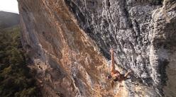 Aleksandra Taistra climbing Mind Control ad Oliana, Spain