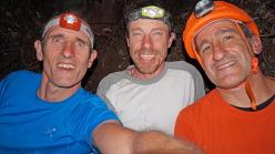 Escalador Selvatico: Rolando Larcher, Luca Giupponi e Maurizio Oviglia happy on the summit after the first redpoint.