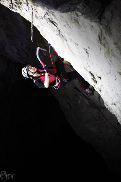 Lucie Hrozová repeating the drytooling route Bafomet M14 at Zakopan in Poland.