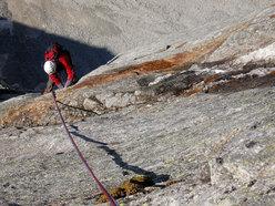 Jorg Verhoeven verso la fine del 7b tiro chiave, Desperation of the Northface, Alpi dello Zillertal, Austria.