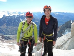 Tommy Caldwell and Alex Honnold during the Fitz Roy Traverse in Patagonia