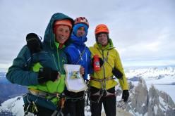 Luca Schiera, Matteo della Bordella and Silvan Schüpbach enchaining Aguja de la Silla with Cerro Fitz Roy in Patagonia.