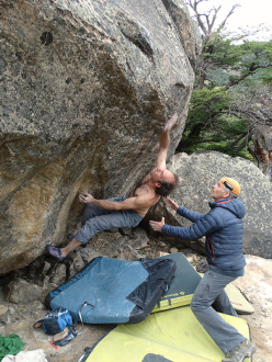 Fred Nicole on his boulder problem Larten (V13/8B), El Chalten