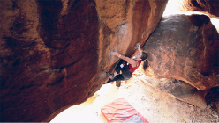 Julia Wurm climbing to win the Hueco Rock Rodeo 2014