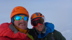 Graham Zimmerman (NZ) and Mark Allen (USA) on the summit of Mount Laurens, 3052m (Alaska).