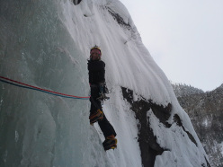 Ice climbing in Norway: Claudio Battezzati on pitch 3 of  Sabotor fossen