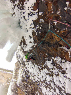 Klemen Premrl climbing the 6th pitch of Overhead Hazard