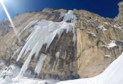 The icefall Zweite Geige in Vallunga, Dolomites