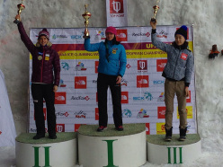 The women's podium at Ufa, Russia: Angelika Rainer, Maria Tolokonina and Shin WoonSeon