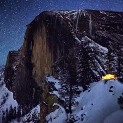Half Dome by night, taken from the video filmed in Yosemite, USA, by Colin Delehanty and Sheldon Neill.