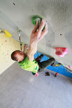 Rock climbing indoors
