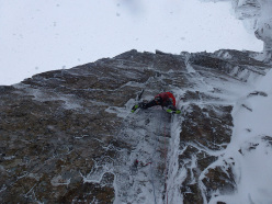 Olov Isaksson making the first ascent of Eggäschpili (IX,9) at Stob Coire nan Lochan, Glen Coe, Scotland on 28/02/2014 together with Karin Zgraggen.