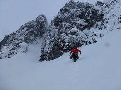 Olov Isaksson and Karin Zgraggen making the first ascent of Eggäschpili (IX,9) at Stob Coire nan Lochan, Glen Coe, Scotland