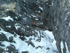Philipp Angelo and Simon Gietl during the first ascent of Edle Mischung (M7 WI6  60°, 340m), Ciampanil del Mufreit, Sella, Dolomites.