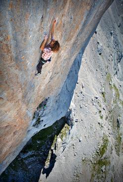 Nicolas Favresse climbing Orbayu, Naranjo de Bulnes, Picos de Europa, Spain.