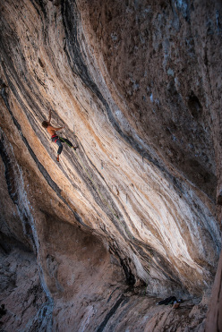 Chris Sharma climbing La Dura Dura, Oliana, Spain