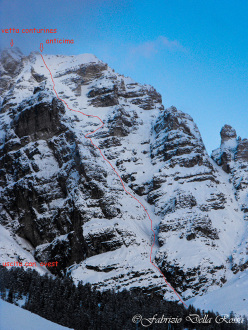 The line chosen by Fabrizio Della Rossa and Manuel Nocker down the West Face of Conturines, Dolomites