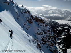 Fabrizio Della Rossa skiing down the West Face of Conturines, Dolomites