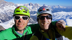 Luca Giupponi and Rolando Larcher ion the summit of Cima Ceremana