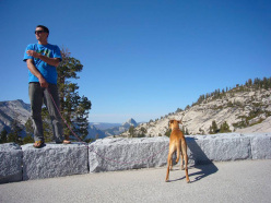 Sean Leary in Yosemite with his beloved dog Nexie