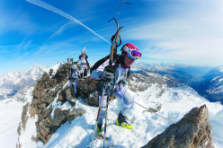 During the Tour du Rutor Extrême, lthe classic ski mountaineering competition in Valle d'Aosta, Italy.