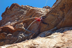Arnaud Petit climbin the 3rd pitch during the first ascent of