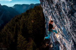 Roland Hemetzberger making the first ascent of Lichtblick 9a at Achleiten, Austria