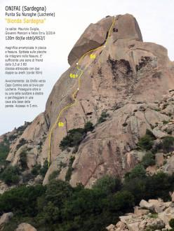 Il tracciato della via Bionda Sardegna (120m, 6b, Maurizio Oviglia, Giovanni Manconi, Fabioo Erriu), Locherie, Orosei