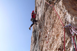 Rolando Larcher on the 12th pitch of AlexAnna, Marmolada, Dolomites.