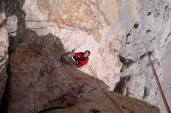 Roberto Pedrotti on the 11th pitch of AlexAnna, Marmolada, Dolomites.
