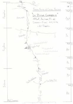 La divina Commedia, Parete Rossa di Castel Presina (185m, 8a/+ max, 7b obl, Andrea Simonini, Giacomo Duzzi)