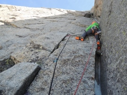 Jeff Mercier on pitch 3 of the corner climbed by Chris Bonington - Rafael Tejada-Flore, West Face Aiguille du Plan