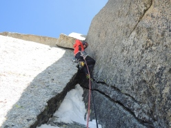 Corrado Pesce on pitch 4 of the corner climbed by Chris Bonington - Rafael Tejada-Flores route, West Face Aiguille du Plan
