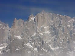 The obvious corner climbed by Chris Bonington and Rafael Tejada-Flores in 1965 up the West Face Aiguille du Plan