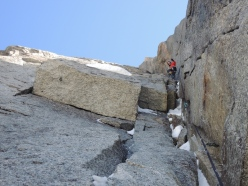 Corrado Pesce on the Chris Bonington - Rafael Tejada-Flores route, West Face Aiguille du Plan: vertical ice and mixed terrain