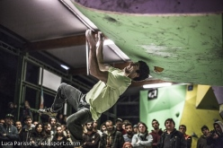 Marcello Bombardi during the first stage of the Italian Bouldering Cup at Rome on 13/04/2014.