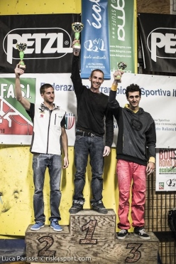 The men's podium of the first stage of the Italian Bouldering Cup at Rome on 13/04/2014: (from left to right) Stefan Scarperi, Gabriele Moroni, Andrea Zanone