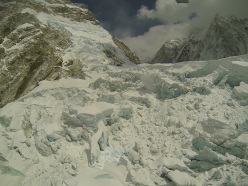 The place of the avalanche in the Everest Icefall. The photo was taken by Simone Moro in 2012.