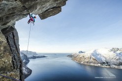 Ines Papert making the first ascent of Finnmonster (A2+, WI6 400m) on Senja Island, Norway