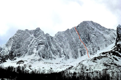 The line of Crazy Maze (8+/IX WI4+ 600m) established by Ines Papert and Thomas Senf up Breitinden in Norway.
