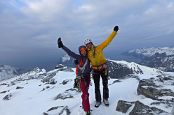 Ines Papert and Thomas Senf on the summit of Breitinden, Norway, after the first ascent of Crazy Maze.