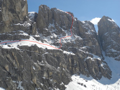 On 07/04/2014 Hermann Comploj skied a new line, solo, down the Murfreid North Face, Sella group, Dolomites.