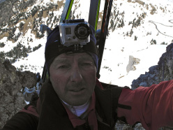 Hermann Comploj during the new ski descent down the Murfried North Face, Sella, Dolomites.