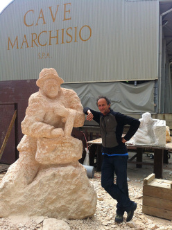 Mario Nebiolo with one of his sculptures