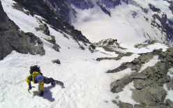 Matterhorn, the descent of the Zmutt Ridge West Couloir by Julien Herry, Francesco Civra Dano and Davide Capozzi on 17/04/2014